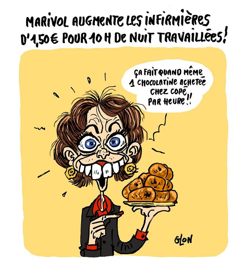 dessin drôle de Marisol Touraine qui offre une chocolatine de Copé aux infirmières