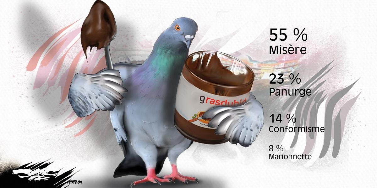 dessin humoristique d'un consommateur pigeon mangeant du Nutella
