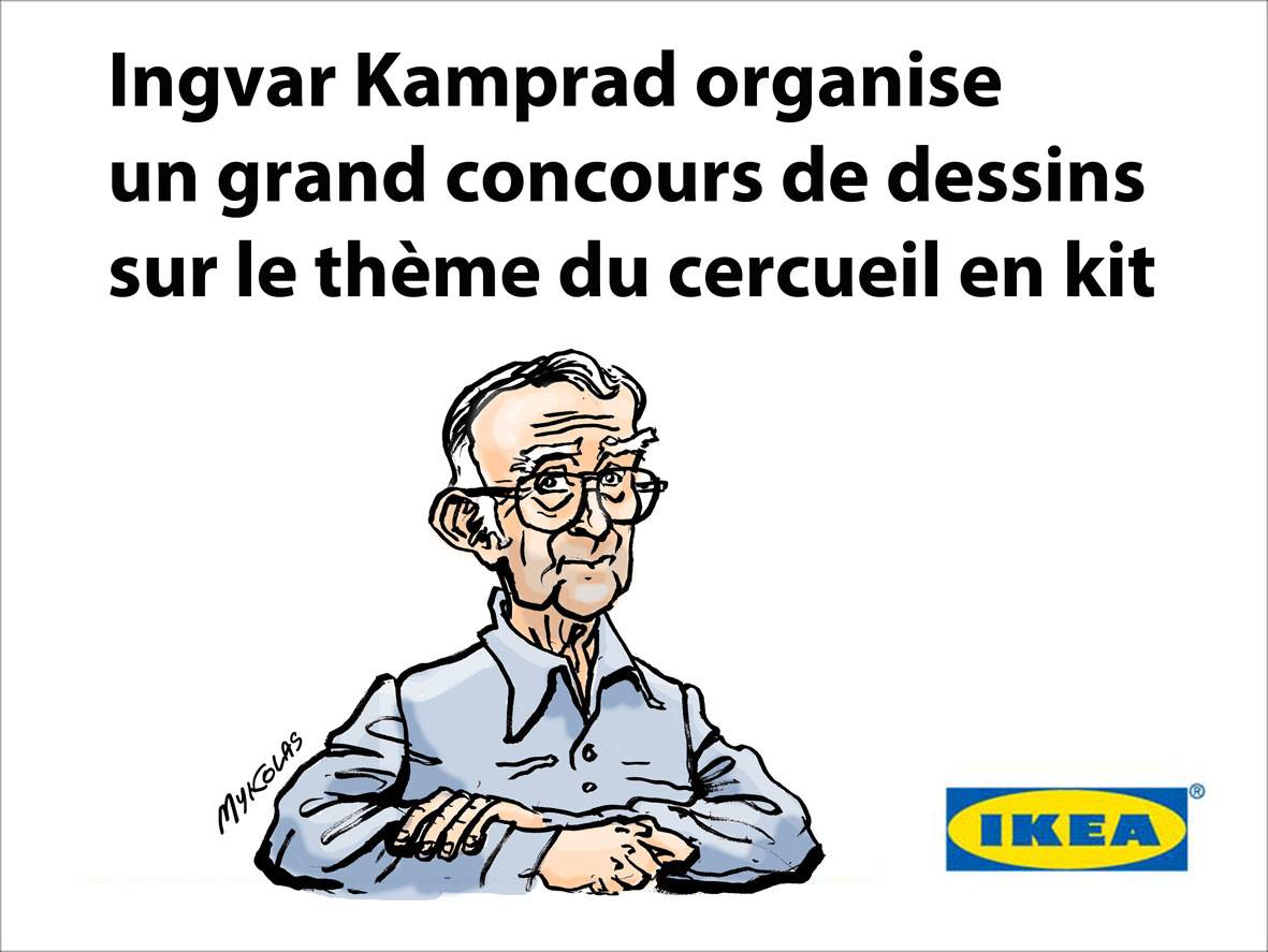 dessin humoristique d'Ingvar Kamprad, fondateur des magasins Ikea