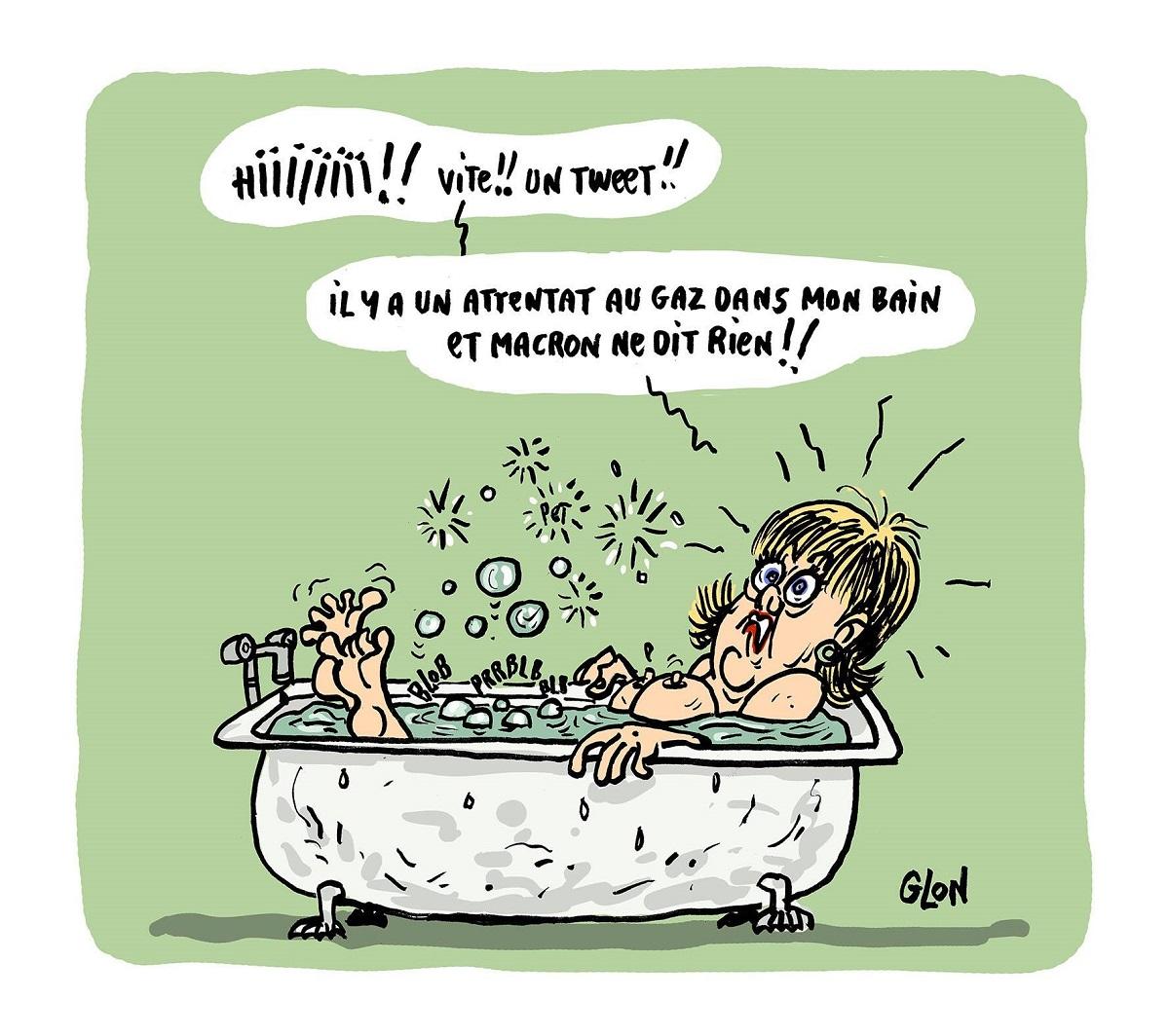 dessin humoristique de Nadine Morano qui pète dans son bain