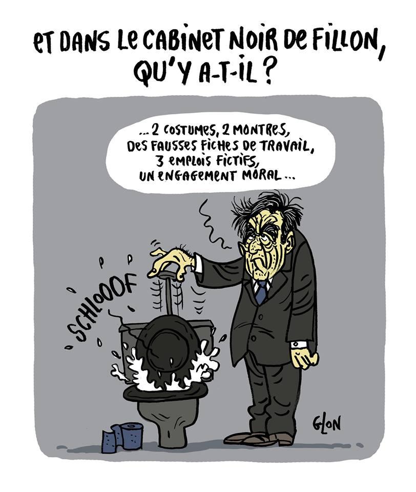 dessin humoristique de François Fillon qui jette ses principes moraux aux toilettes