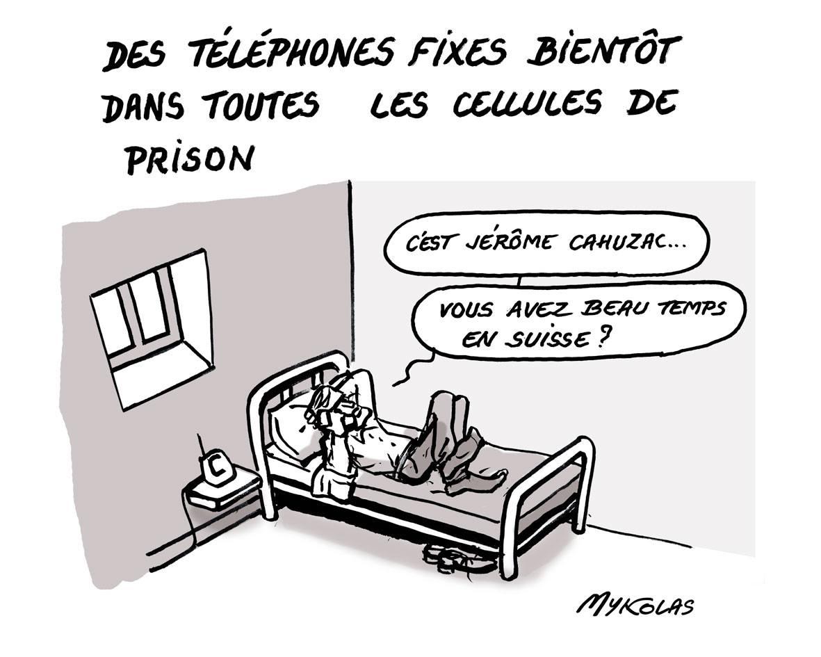 dessin drôle de Jérôme Cahuzac qui profite de son téléphone en prison