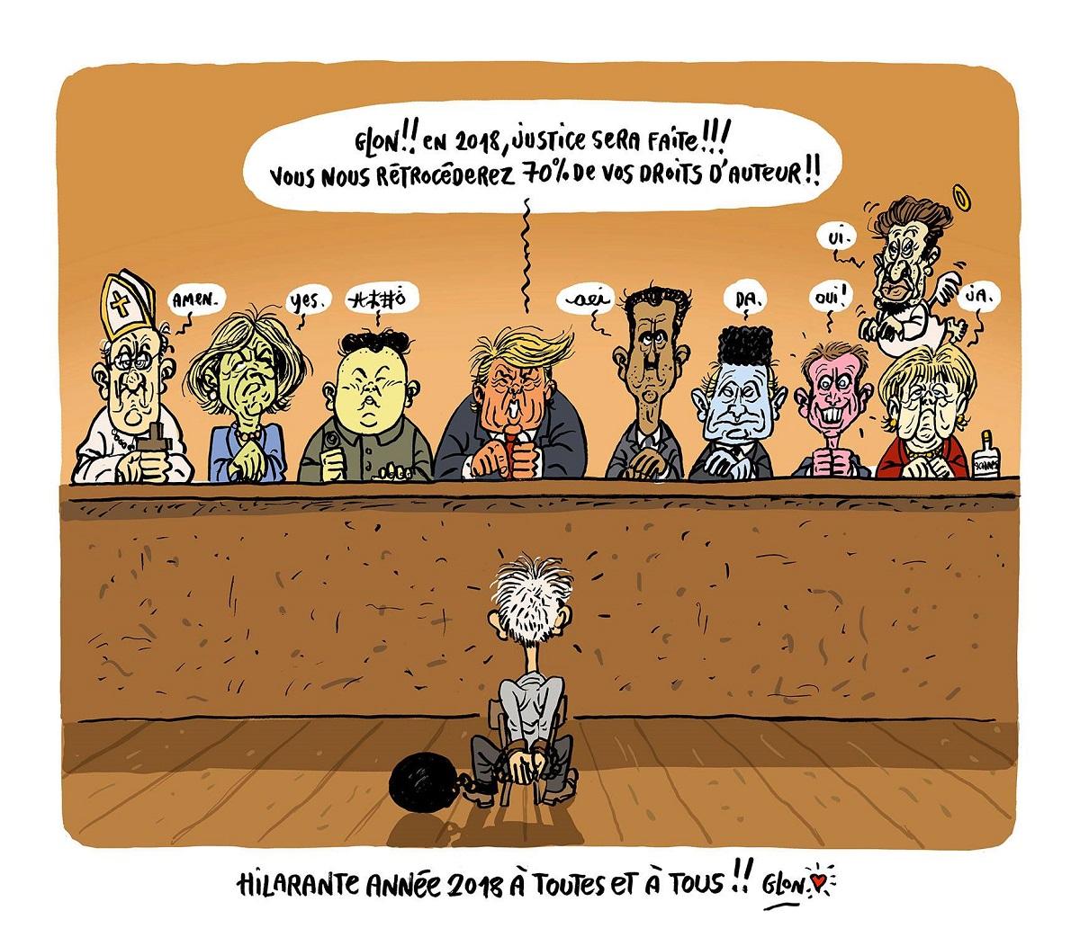 dessin humoristique de Glon jugé par les personnes qu'il a caricaturé en 2017