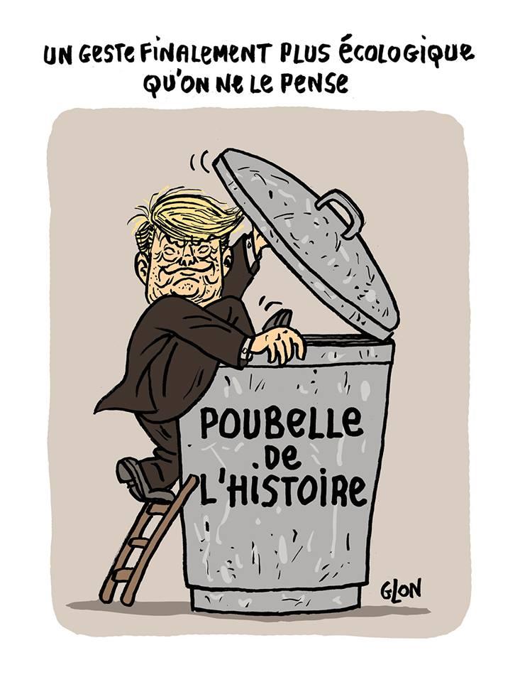 dessin de Donald Trump entrant dans la poubelle de l'Histoire