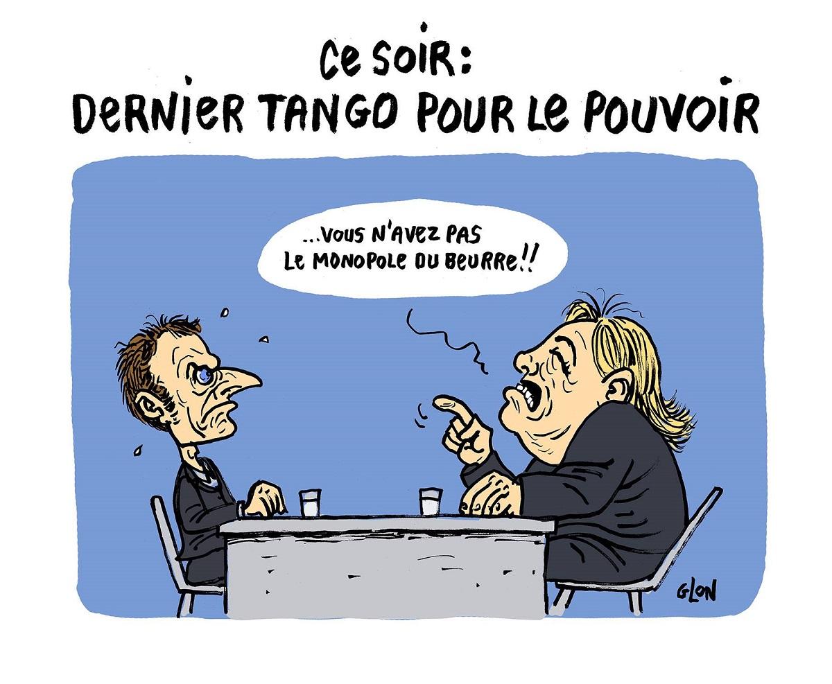 dessin drôle d'Emmanuel Macron face à Marine Le Pen lors du débat télévisé