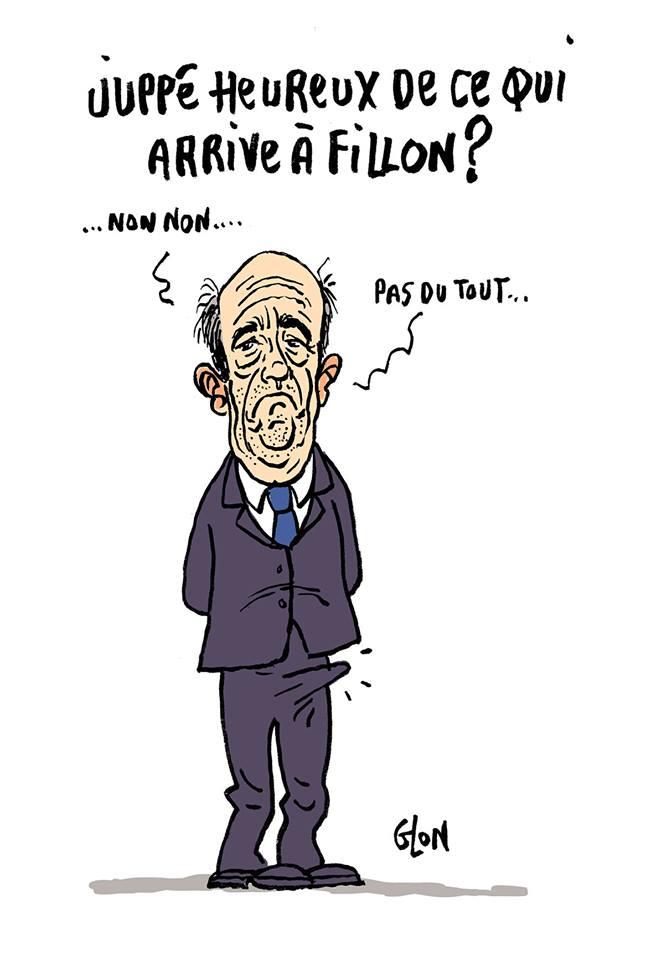 dessin humoristique d'Alain Juppé avec une érection de bonheur grâce à l'affaire FIllon
