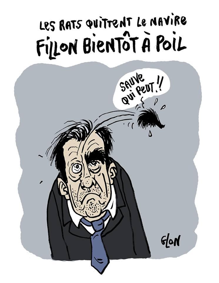 dessin humoristique de François Fillon qui perd un de ses sourcils
