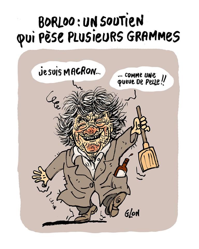 dessin drôle de Jean-Louis Borloo ivre mort qui soutien Macron comme une queue de pelle