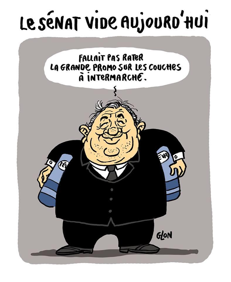 dessin humoristique de Gérard Larcher avec des couches sous les bras