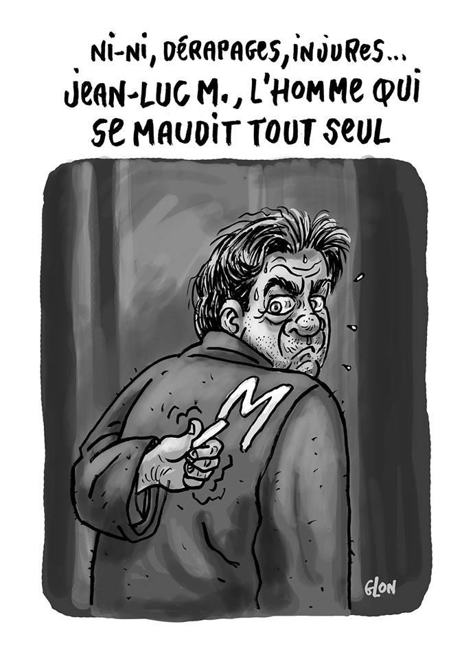dessin humoristique de Jean-Luc Mélenchon en train de s'auto-maudire