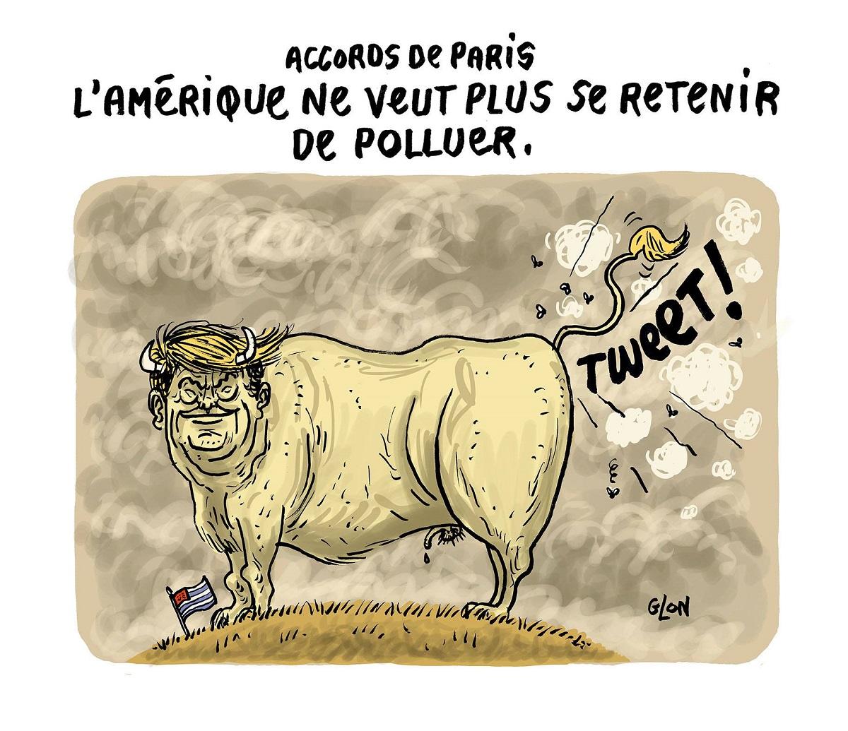 dessin rigolo de Donald Trump en boeuf pollueur