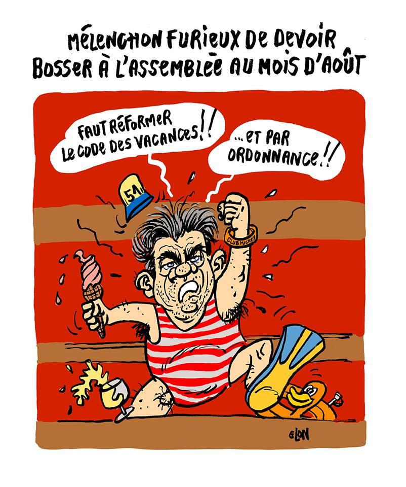 dessin humoristique de Jean-Luc Mélenchon en costume de plage à l'Assemblée Nationale