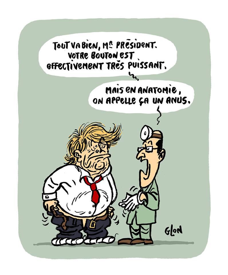 dessin humoristique de Donald Trump qui vient de montrer son gros bouton à son médecin