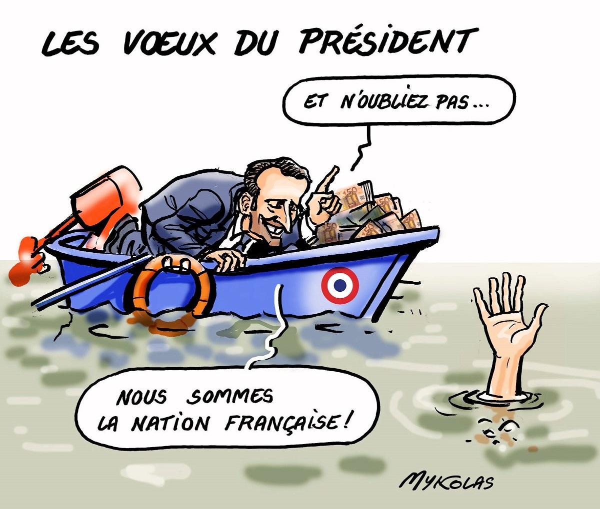 dessin drôle d'Emmanuel Macron dans son bateau plein de fric en train de faire la morale à un homme qui se noie