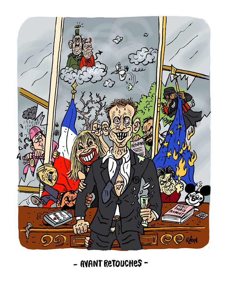 dessin humoristique de la photo officieuse d'Emmanuel Macron Président de la République Française