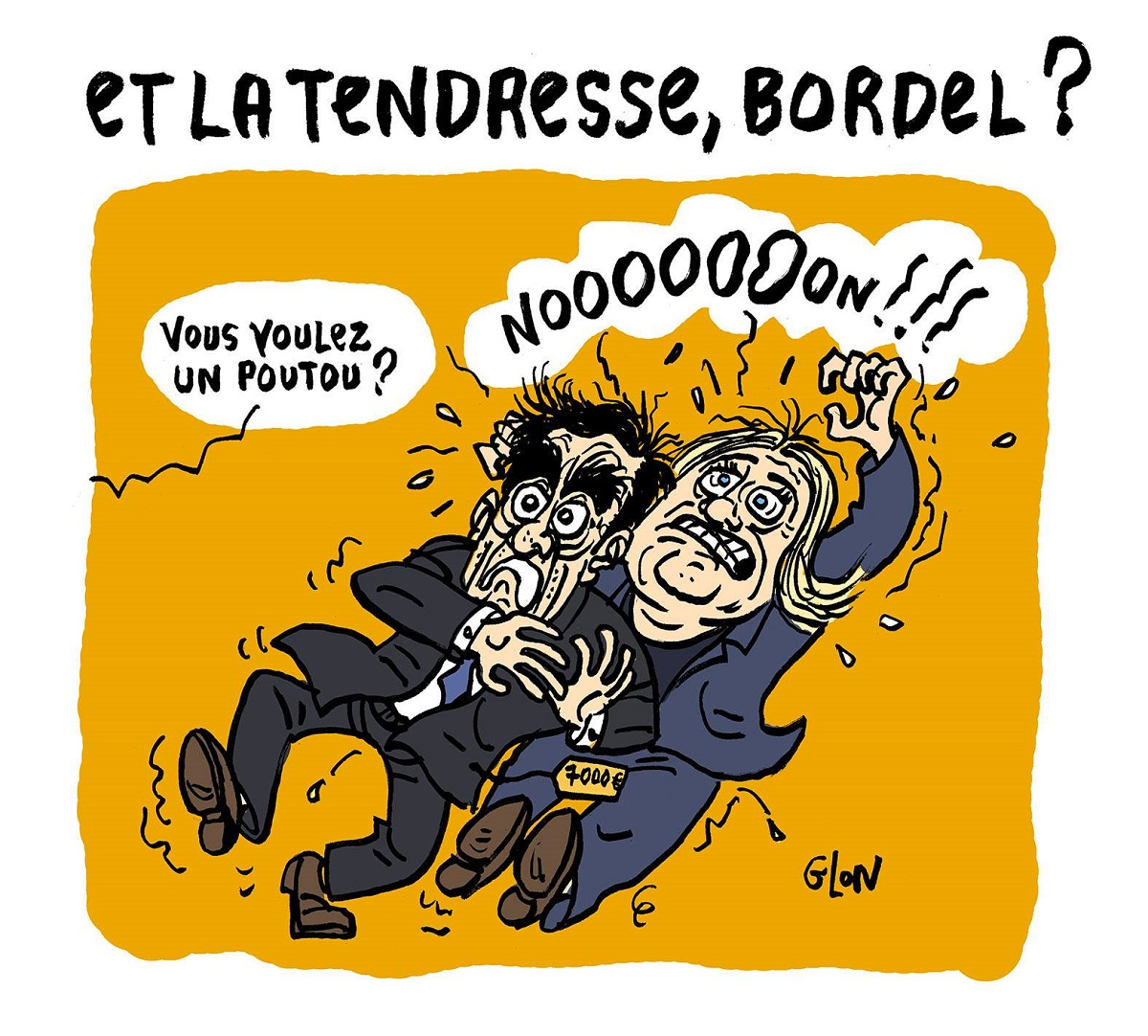 dessin drôle de François Fillon et Marine Le Pen terrorisés par un Poutou