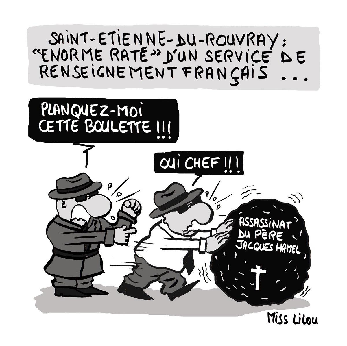dessin humoristique des services de renseignement français en train de camoufler leur erreur