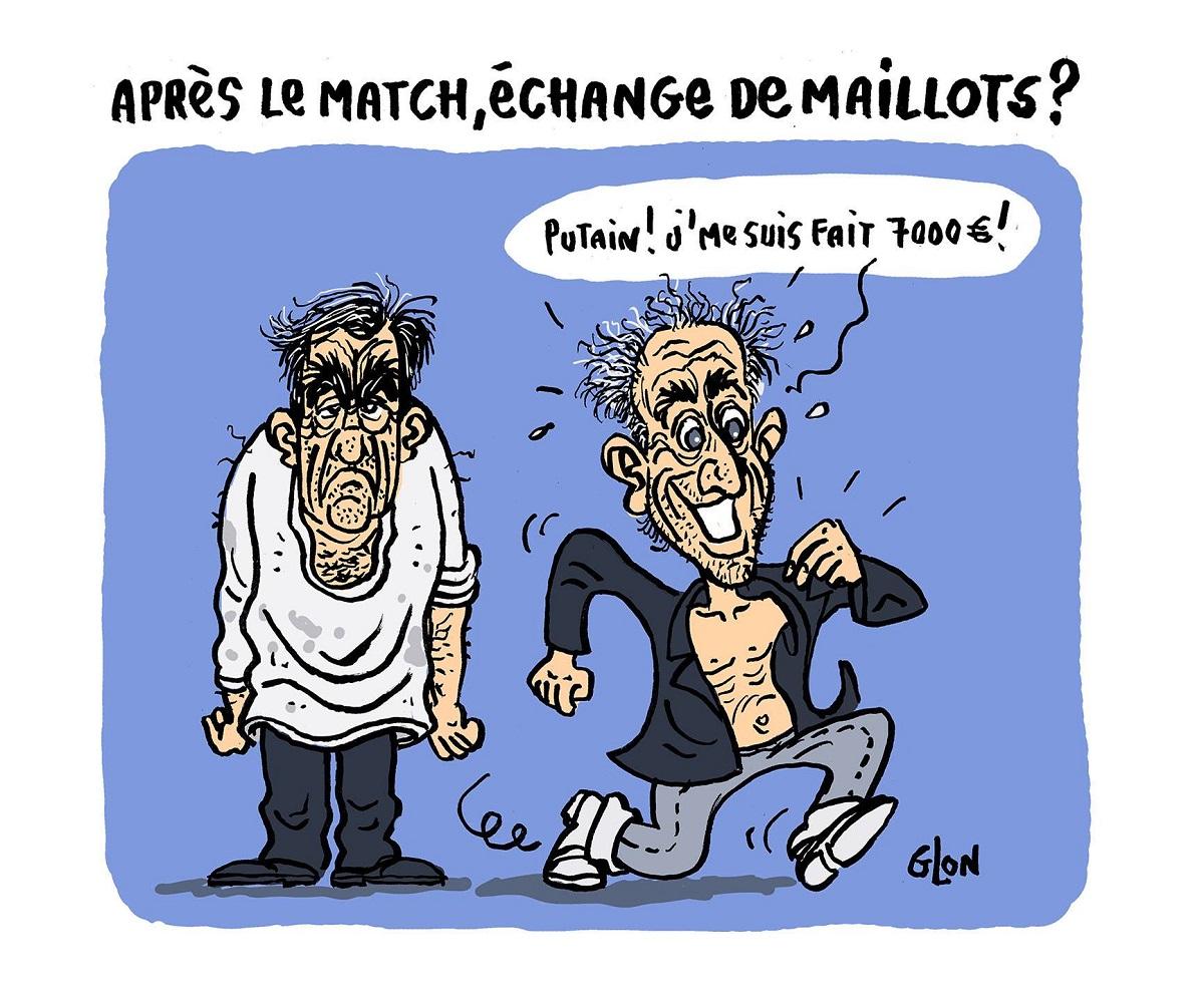 dessin humoristique de Philippe Poutou partant avec la veste du costume à 7000 euros de François Fillon