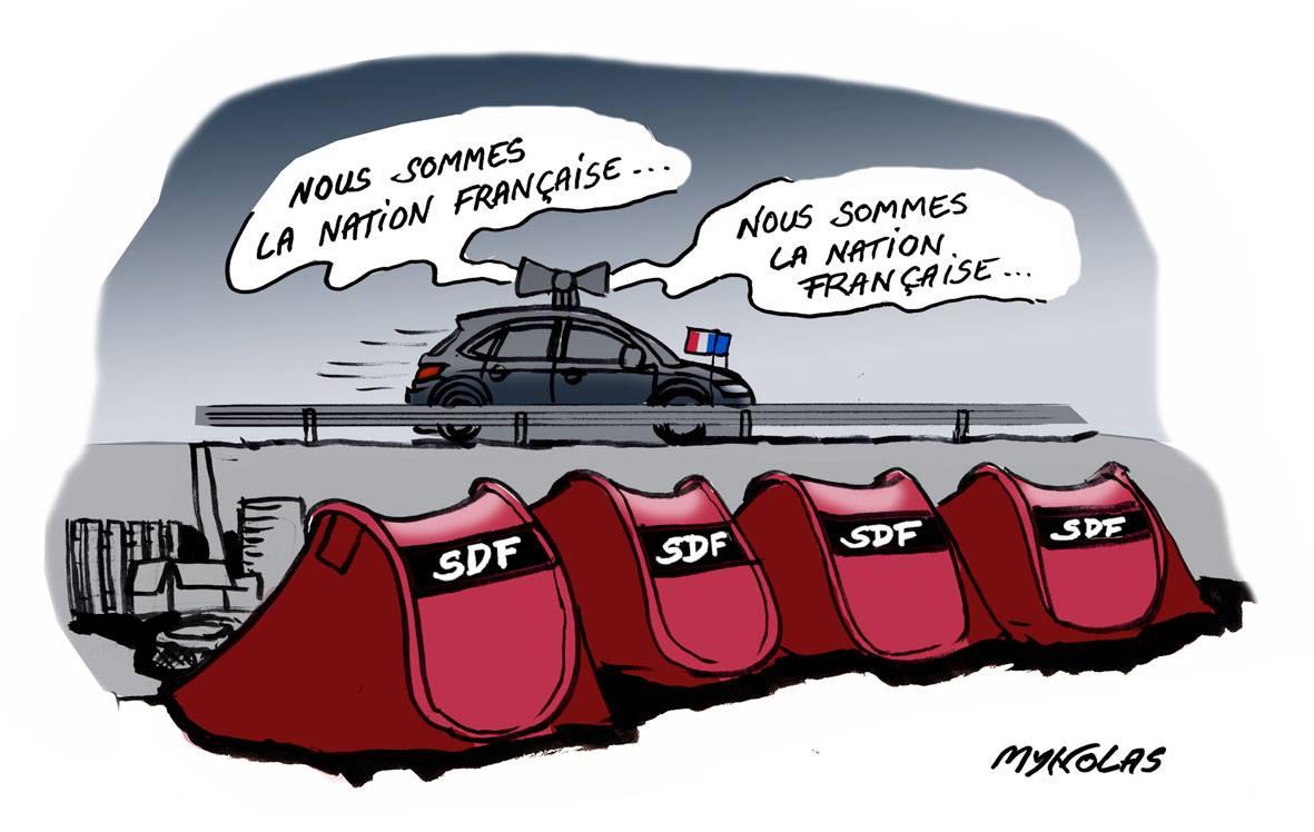 """dessin drôle d'une voiture de police scandant """"Nous sommes la nation française"""" devant des tentes de SDF"""