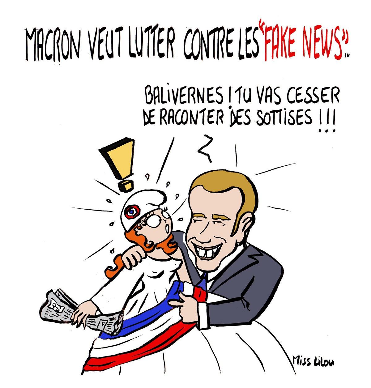 dessin humoristique d'Emmanuel Macron tentant d'interdire à Marianne de diffuser des fake news