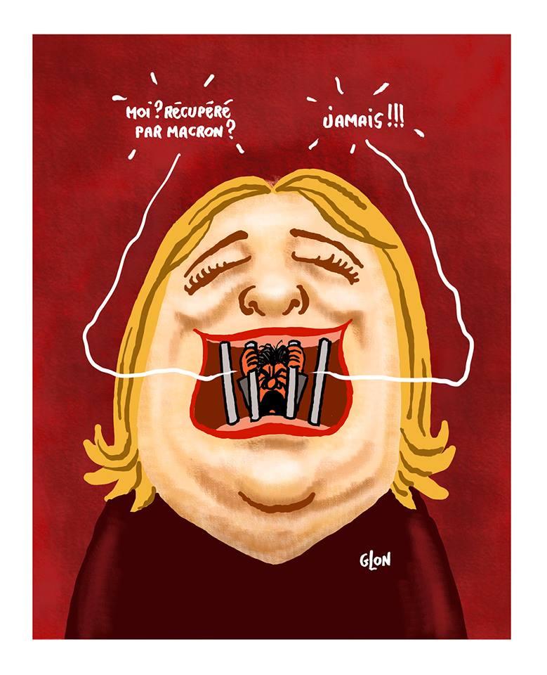 dessin humoristique de Jean-Luc Mélenchon prisonnier de Marine Le Pen