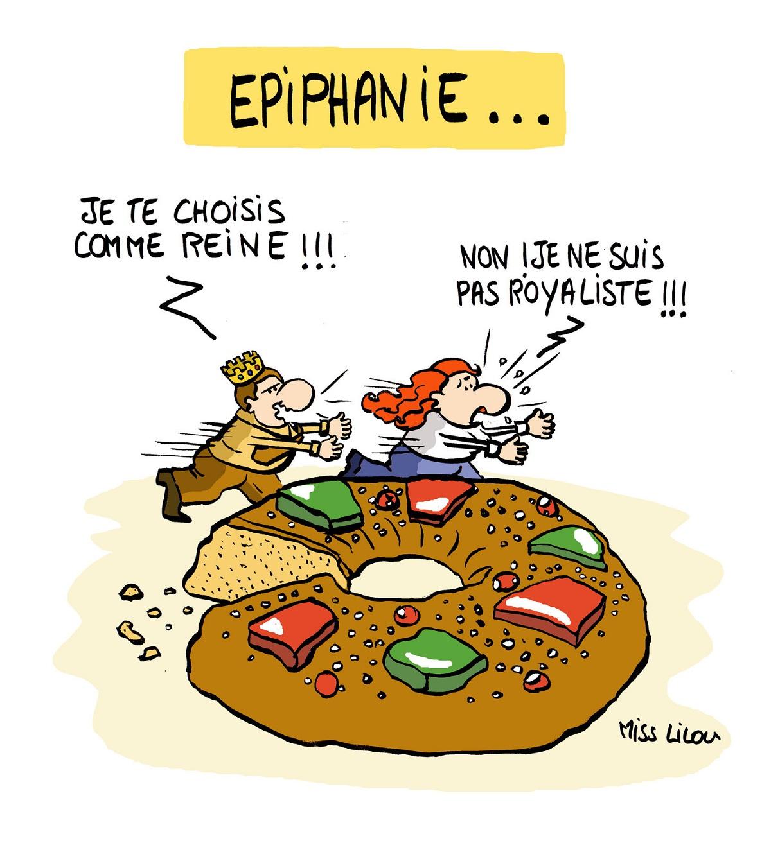 dessin humoristique d'un couple qui vient de manger une galette des rois