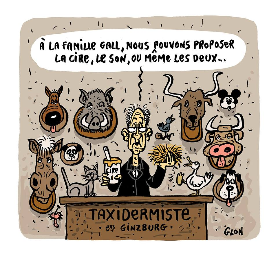 Dessin humoristique d'un taxidermiste qui propose de la cire ou du son pour France Gall