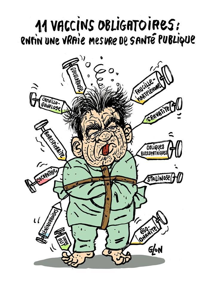 dessin drôle de Jean-Luc Mélenchon en camisole de force lardé de 11 seringues