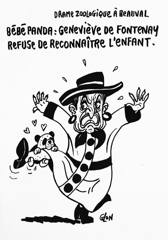 dessin humoristique de Geneviève de Fontenay avec le bébé panda de Beauval