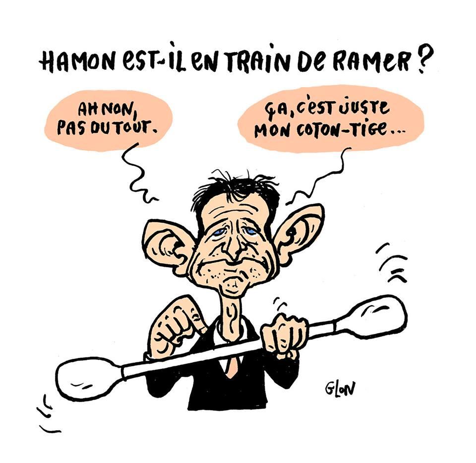 dessin humoristique de Benoît Hamon avec ses grandes oreilles et un coton-tige géant