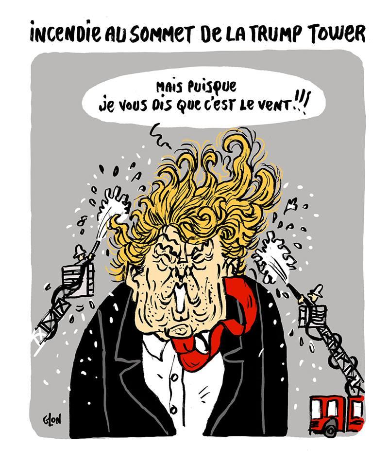dessin humoristique de Donald Trump les cheveux arrosé par les pompiers
