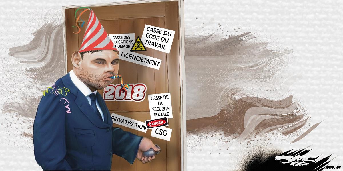 dessin humoristique d'un Français qui franchit la porte de 2018
