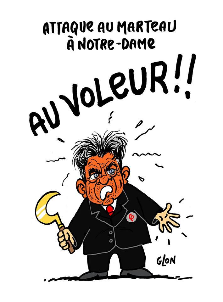 dessin humoristique de Jean-Luc Mélenchon qui vient de se faire voler son marteau