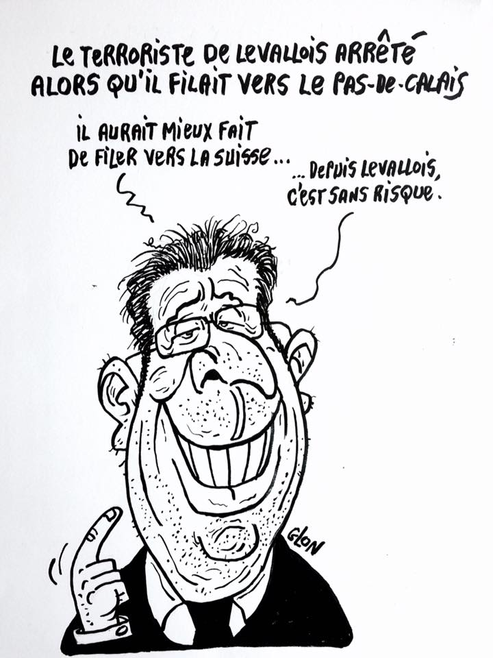 dessin drôle de Patrick Balkany qui parle du terroriste de Levallois