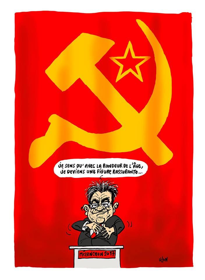 dessin drôle de Jean-Luc Mélenchon en meeting devant le drapeau communiste