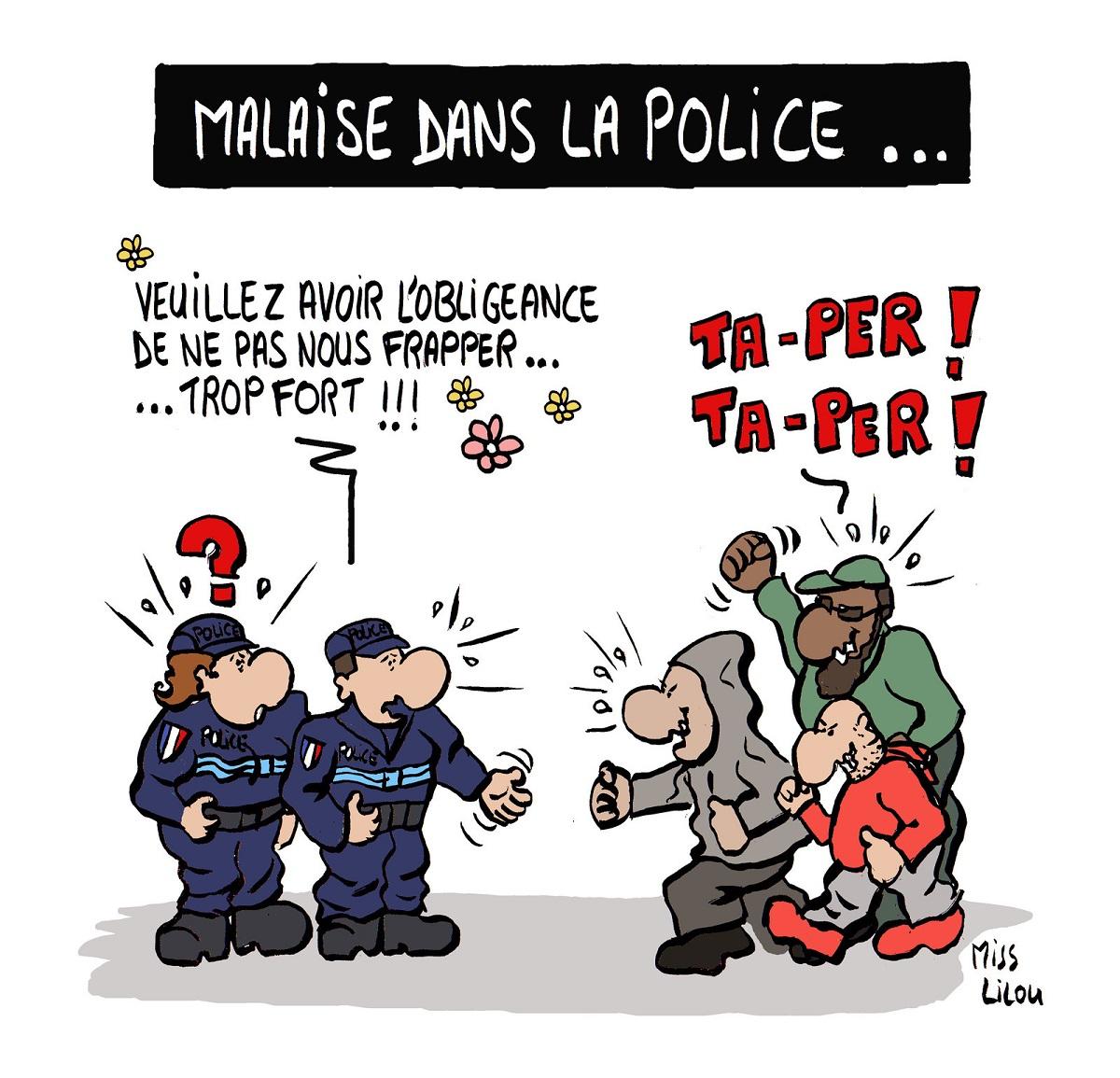 dessin humoristique de délinquants qui agressent des policiers