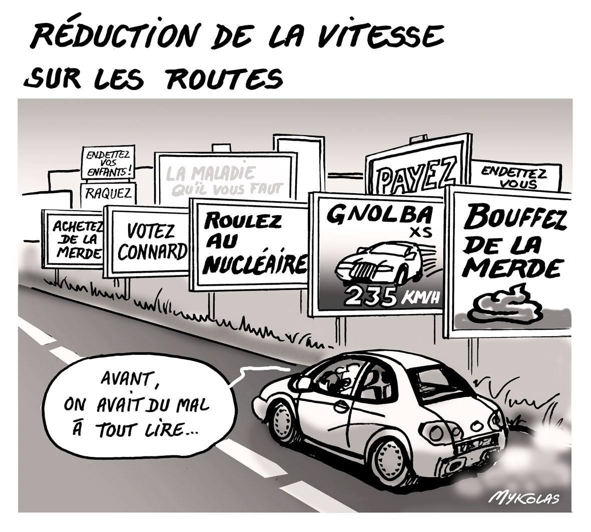 dessin humoristique d'une route à vitesse limitée blindée de panneaux publicitaires
