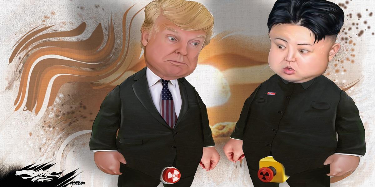 dessin humoristique du gros bouton nucléaire de Donald Trump et Kim Jong-un