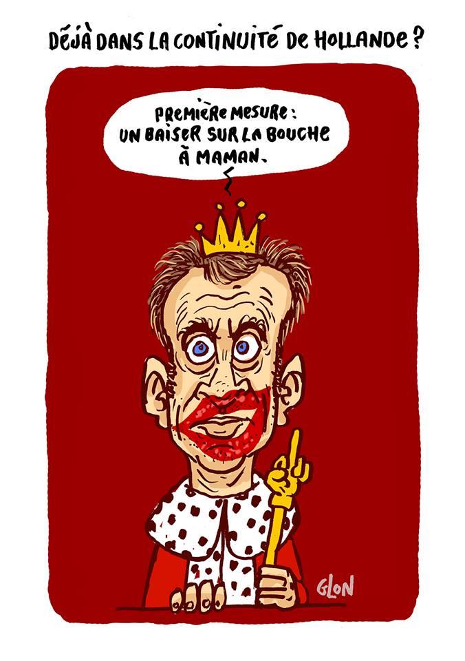 dessin humoristique du Roi Macron qui vient de faire un baiser sur la bouche de maman