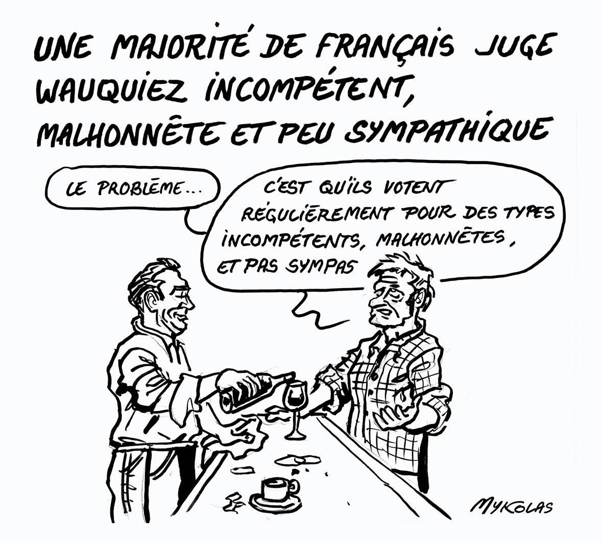 dessin humoristique d'un français parlant de Laurent Wauquiez