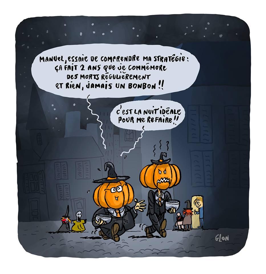 dessin humoristique de François Hollande et Manuel Valls en costumes de citrouille pour Halloween