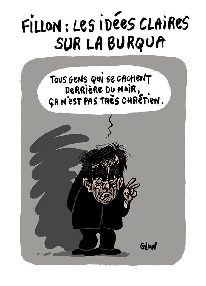 dessin humoristique de François Fillon qui parle de la burqua