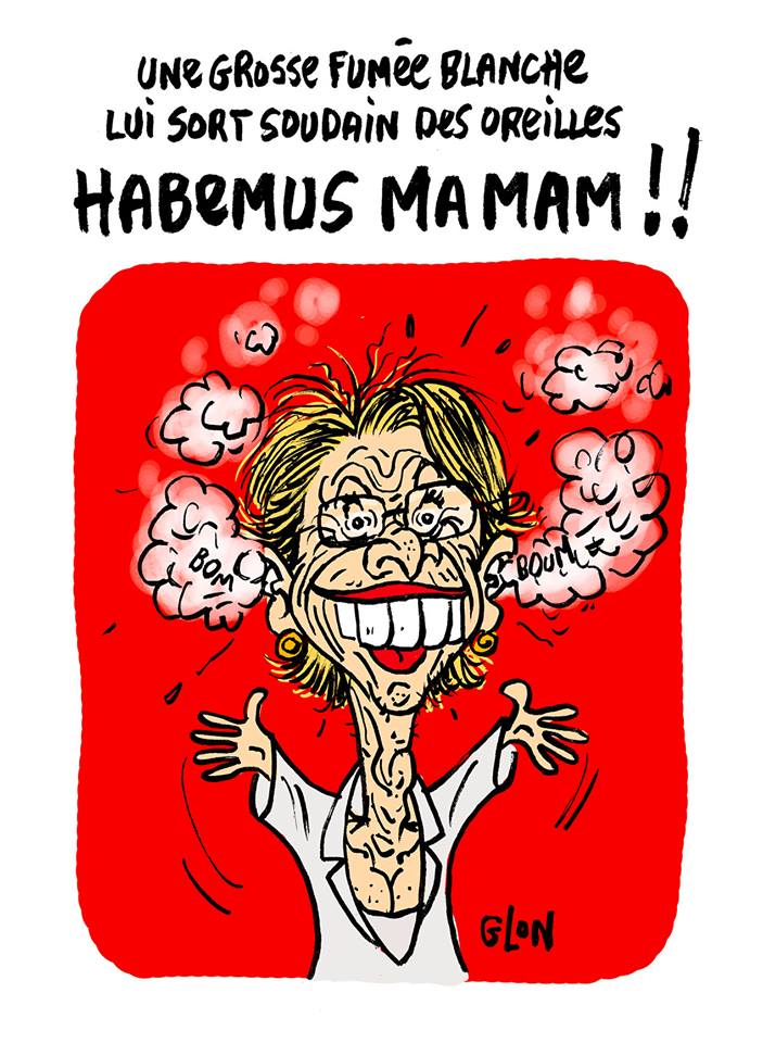 dessin humoristique de Michèle Alliot-Marie avec de la fumée qui sort des oreilles