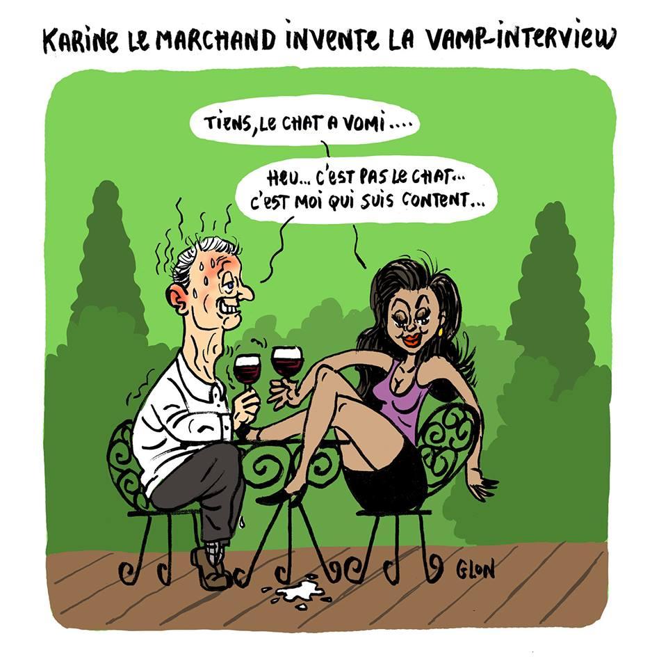 dessin humoristique de Bruno Le Maire très troublé par Karine Le Marchand