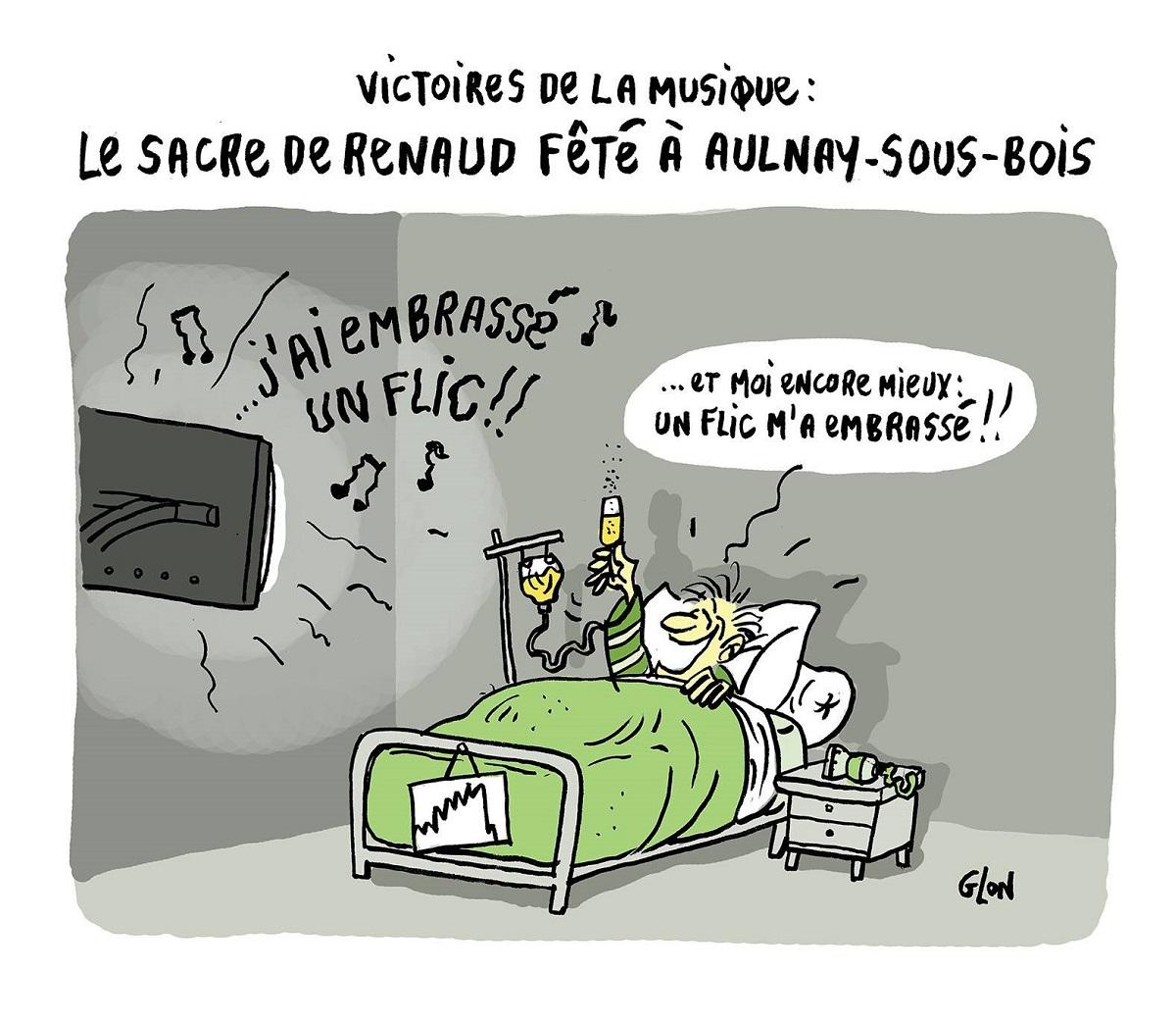 dessin humoristique d'un homme qui fête la victoire de Renaud à l'hôpital