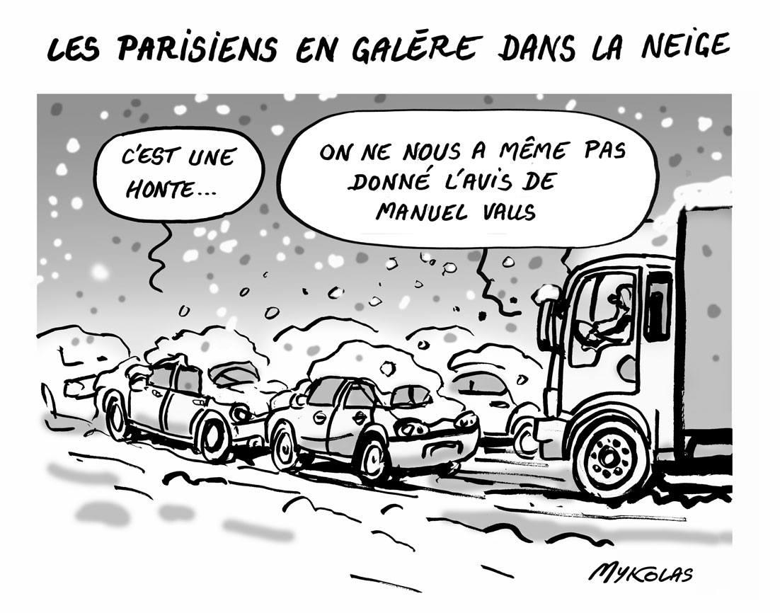 dessin humoristique de Parisiens sous la neige bloqués dans leurs véhicules