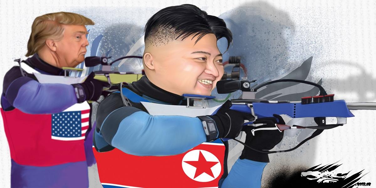 dessin drôle de Kim Jong-un et Donald Trump aux Jeux Olympiques