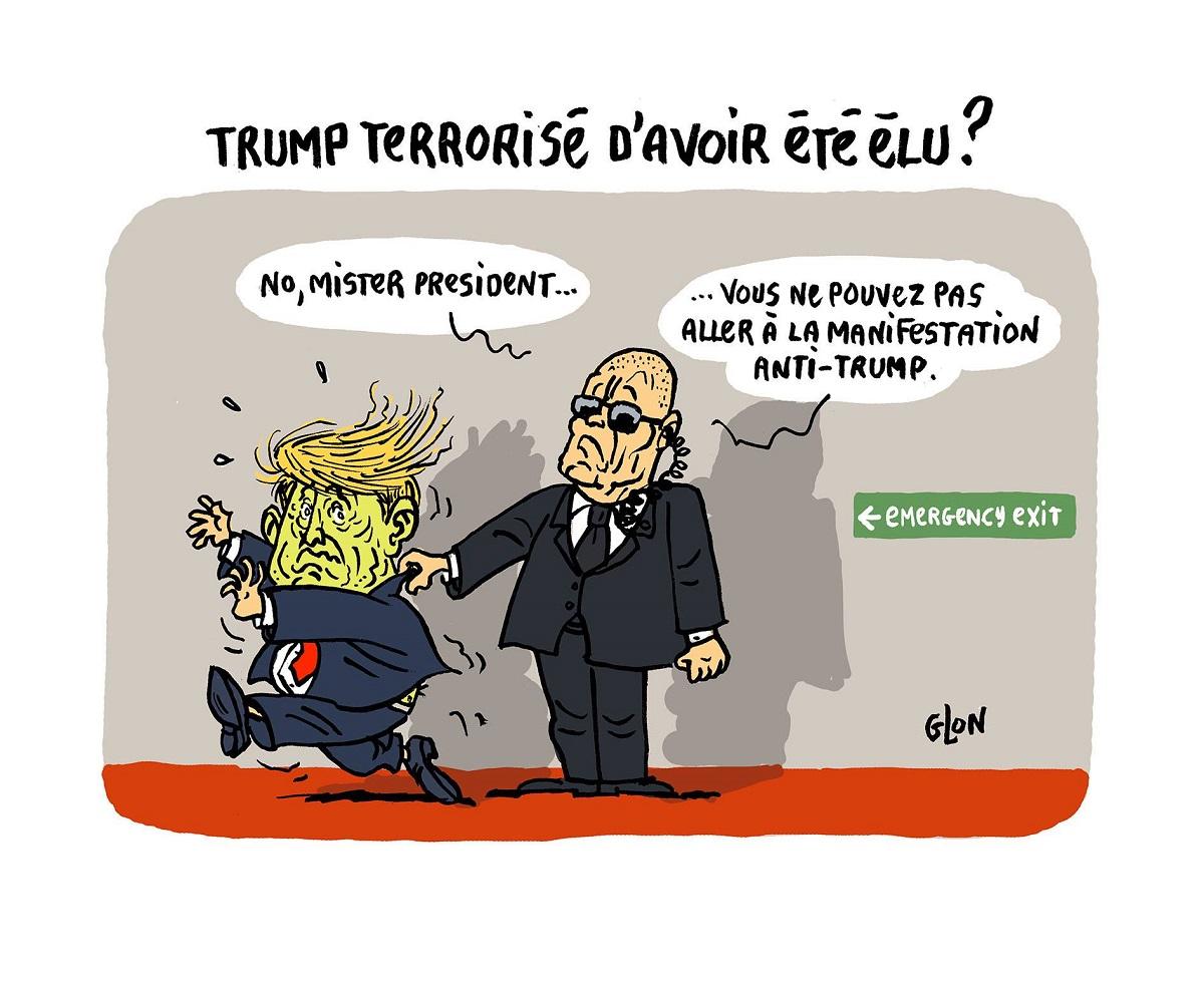 dessin humoristique de Donald Trump empêché de fuir par son garde du corps