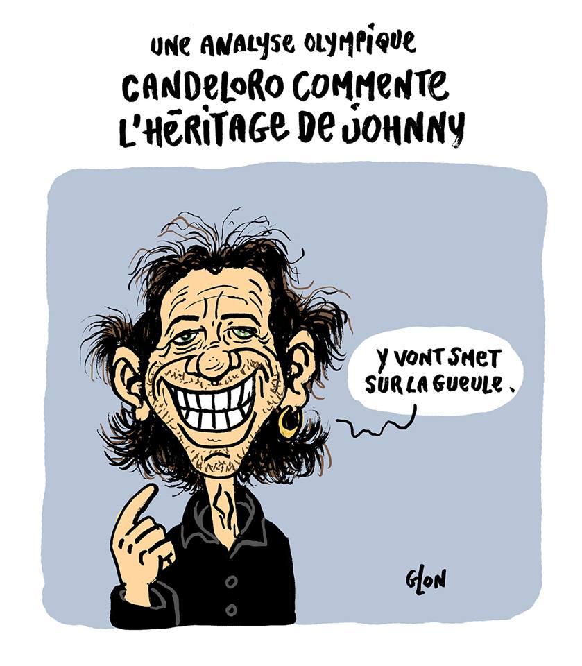 dessin humoristique de Philippe Candeloro commentant la bataille autour de l'Héritage de Johnny Hallyday