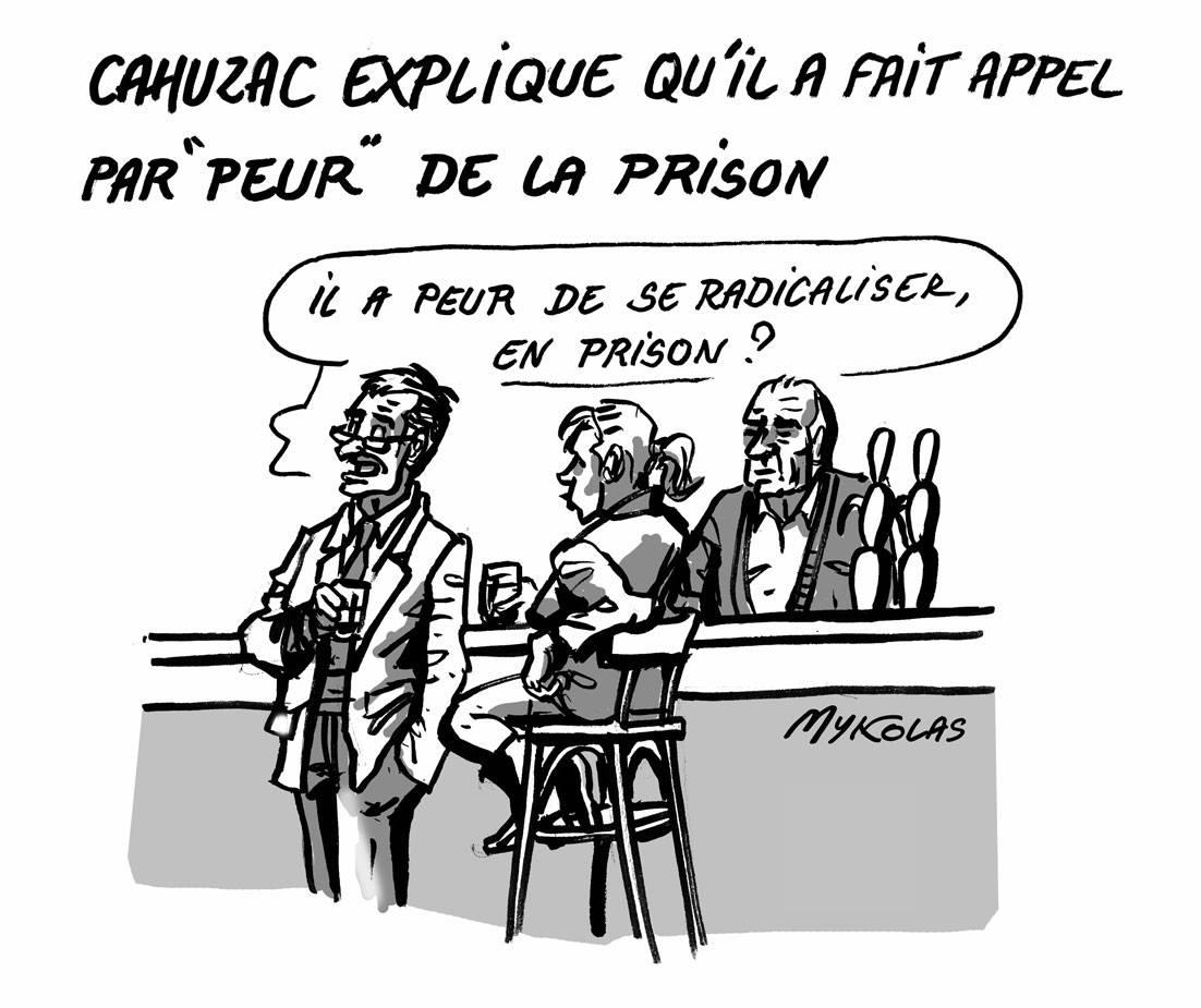 dessin humoristique de consommateurs dans un bar parlant de la peur de la prison de Jérôme Cahuzac
